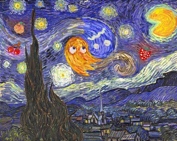 starry night at the arcade van gogh noah gibbs homage pac man