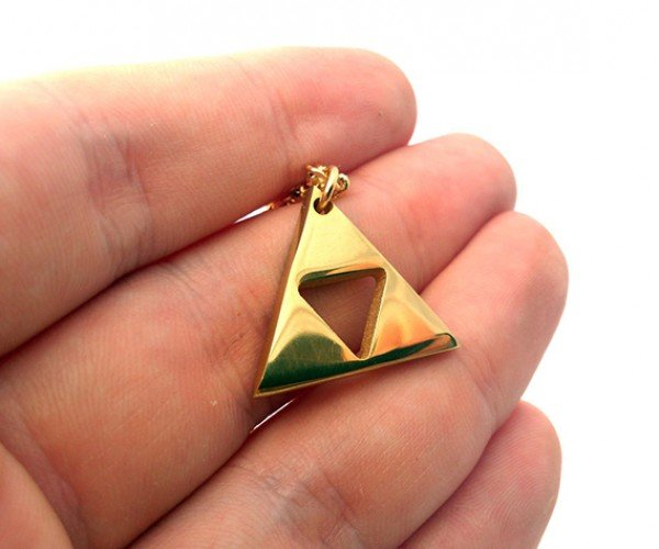 zelda triforce gold plated necklace 2