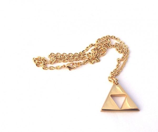 zelda triforce gold plated necklace 3