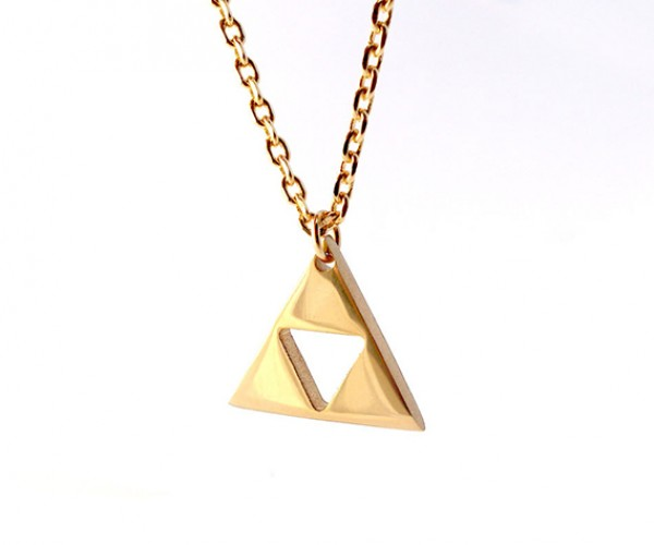 zelda triforce gold plated necklace 4