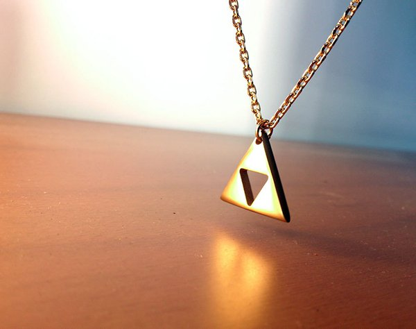 zelda triforce gold plated necklace
