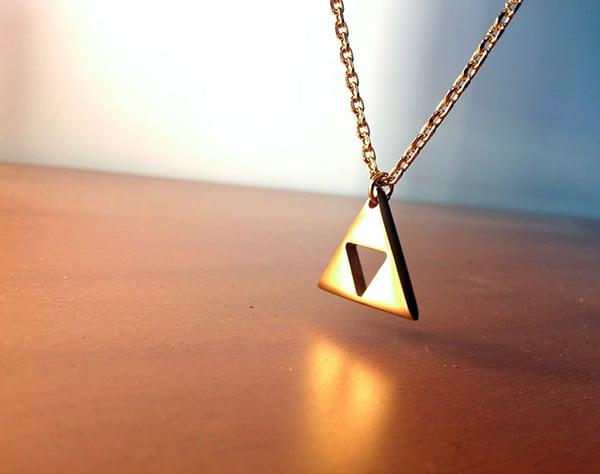 zelda triforce gold plated necklace