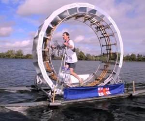 "Man Tries to ""Walk"" Across Irish Sea in a Hamster Wheel, Fails"