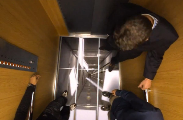 lg uses tvs in elevators to scare the crap out of people With elevator floor prank