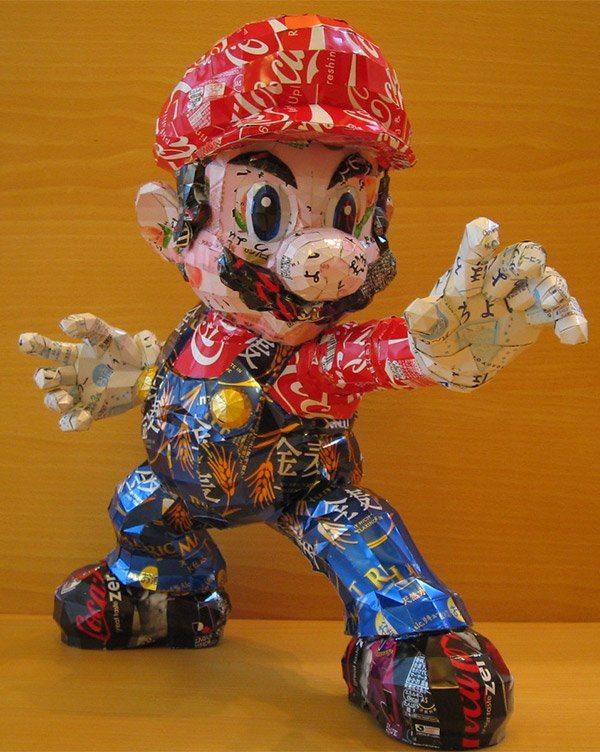 mario cans sculpture