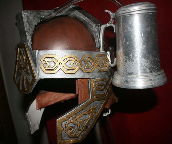 The Ultimate Medieval Beer Helmet Holds Two Flagons of Mead