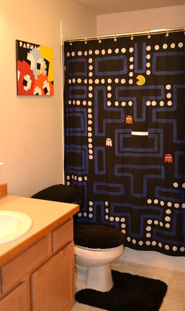 PacMan Shower Curtain Washa, Washa, Washa  Technabob # Wasbak Washok_104333