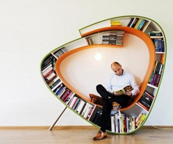 Bookworm Wrap-Around Bookshelf Chair Gives Bookworms Their Own Little Book Nook