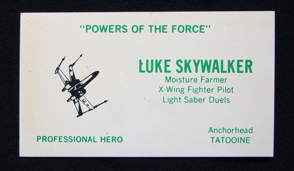 Impress prospective clients and employers with some star wars what character would you want on a business card which one is your personal fave colourmoves