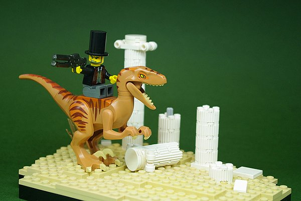 abraham lincoln on a velociraptor by andrew becraft