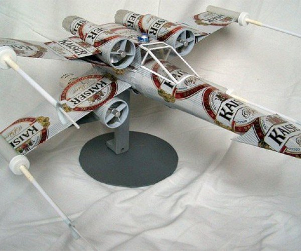 X-Wing Fighter Made from Beer Cans: Now Let's Chug This Thing and Go Home!