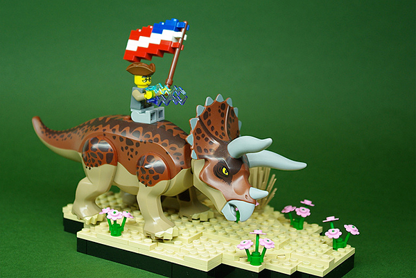 ben franklin on a triceratops by andrew becraft