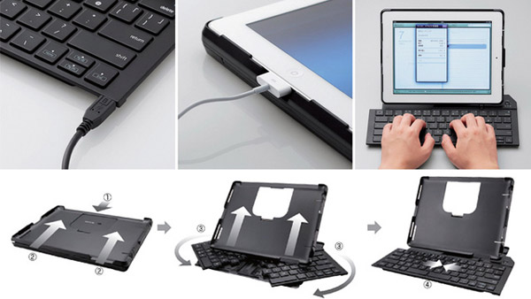 elecom ipad keyboard case folding