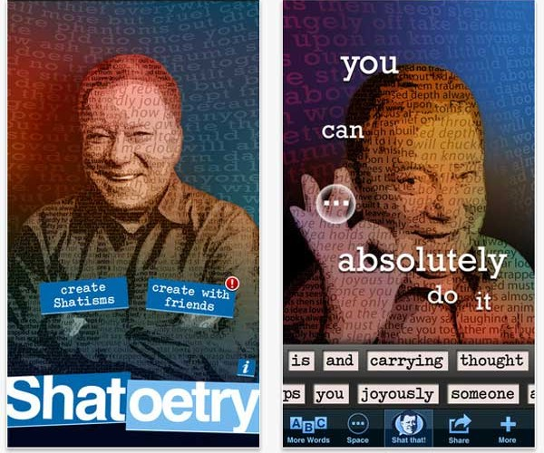 William Shatner Launches iPhone App Called Shatoetry: Oh, Shat!