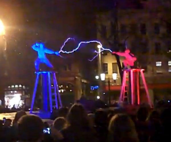 Tesla Coil Fight: Two Men Enter, Two Men Get Electrocuted