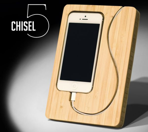 chisel iphone dock bamboo