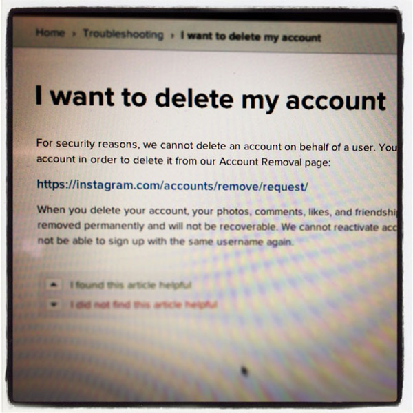 delete instagram pic photo