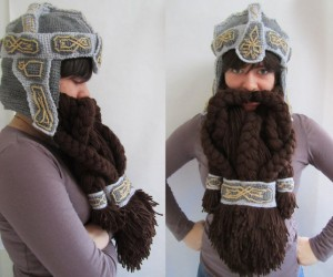 Lord of the Rings Crochet Dwarf Beard Helmet: Facewarming, Medieval Style