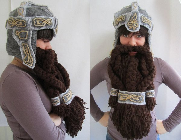Crochet Dwarf Beard Hat Pattern : Lord of the Rings Crochet Dwarf Beard Helmet: Facewarming ...