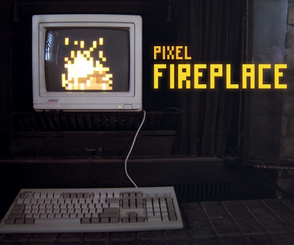Pixel Fireplace Trades Warmth for a Word Game
