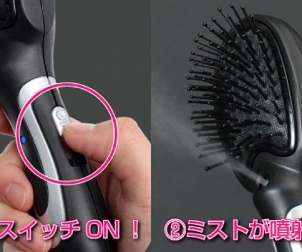 Thanko USB-Powered Misting Hairbrush Untangles Unruly Locks