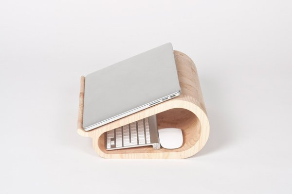 vool laptop stand wood closed