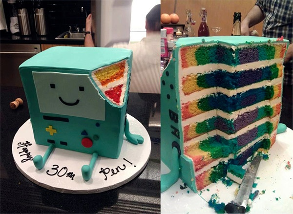 Tremendous Amazing Bmo Adventure Time Birthday Cake Has A Colorful Surprise Funny Birthday Cards Online Fluifree Goldxyz