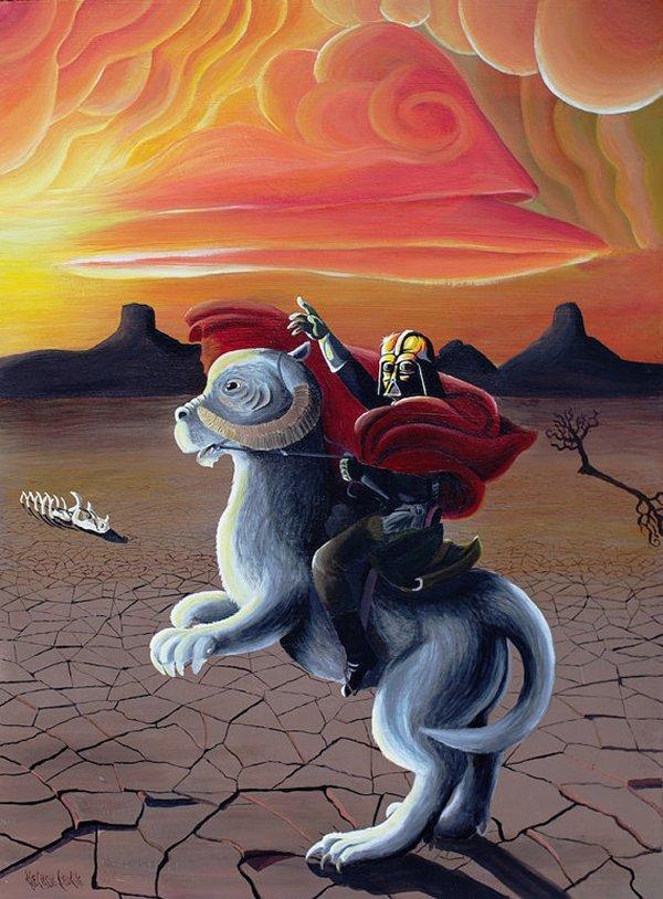 Vader riding a tauntaun