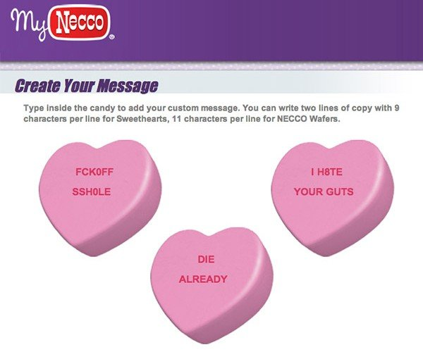My Bitter Valentine: Order Some Custom Anti-Sweethearts Candies