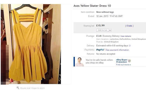 ebay auction yellow dress