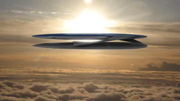 ecological airliner aircraft concept plane clouds photo