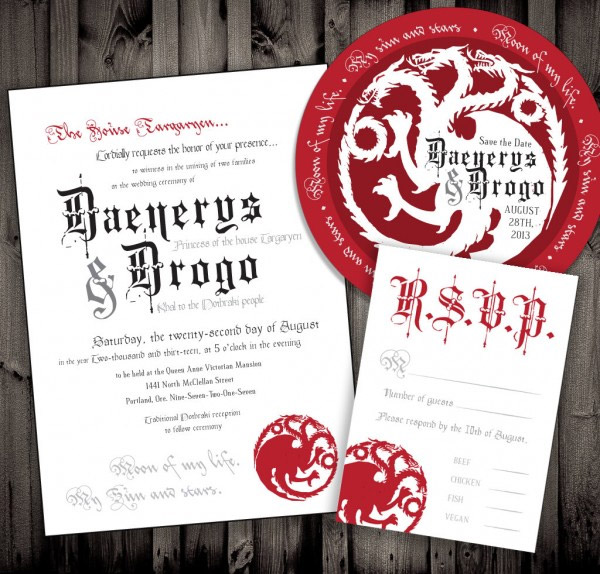 Game Of Thrones Wedding Invitations: Winter Is Coming, Are