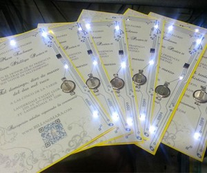 Geeky Wedding Invitations Adorned with Circuit Boards and Blinking LEDs