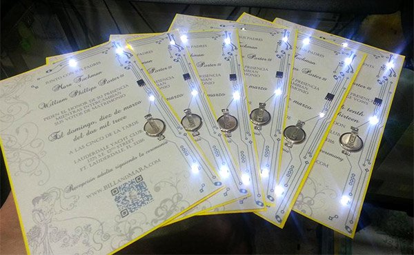 led circuit wedding invitations
