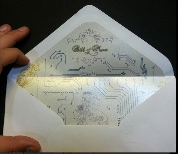 led circuit wedding invitations envelope