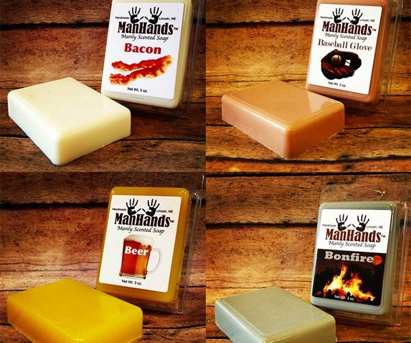 "ManHands Soap Delightful Scents Include Beer, Muscle Rub, Top Soil, and ""Urinal Mint"""