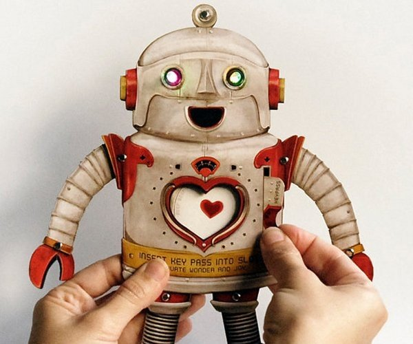 Electric Valentine Robot Paper Toy: RoboCard