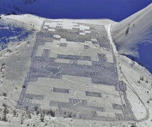 Space Invaders Invade Snowy Mountainside