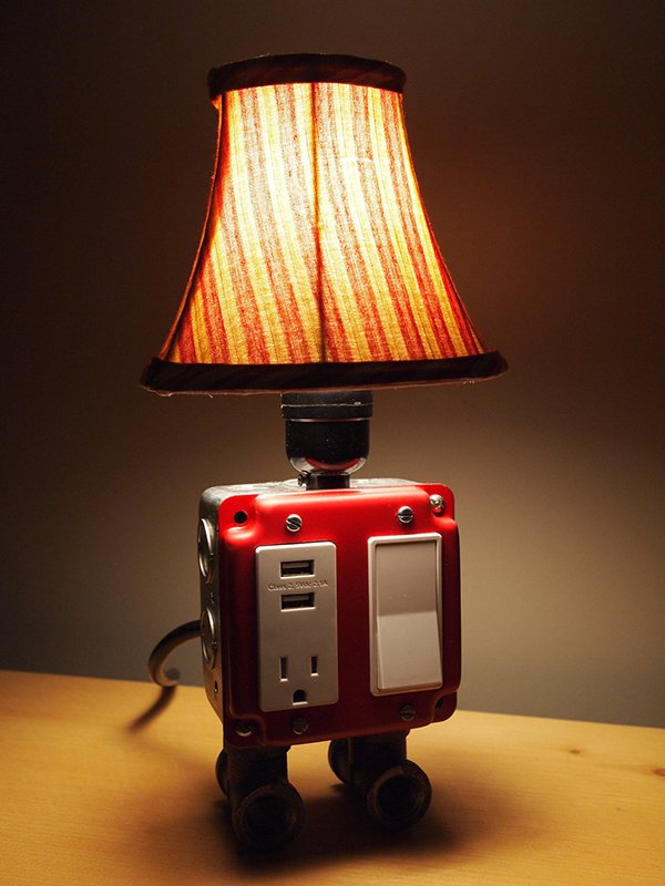 Table Lamp With Charging Station Or Power Strip With Bulb