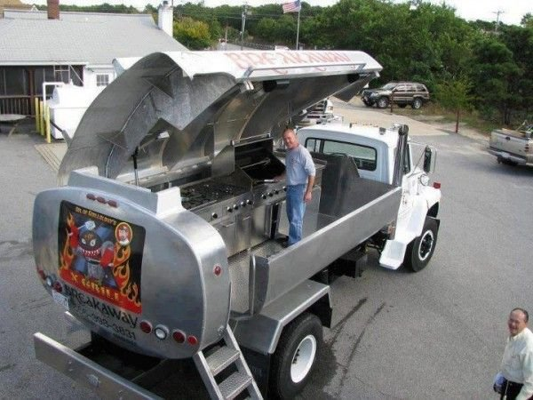 Oil Truck Turned Into A Massive Rolling Barbecue Grill