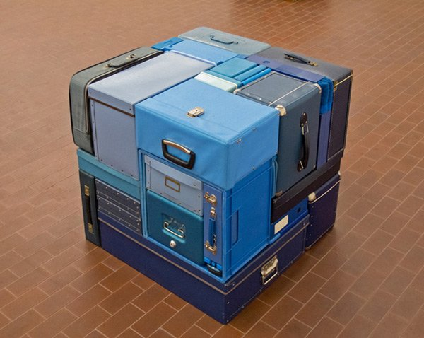tetris sculptures real life blue photo