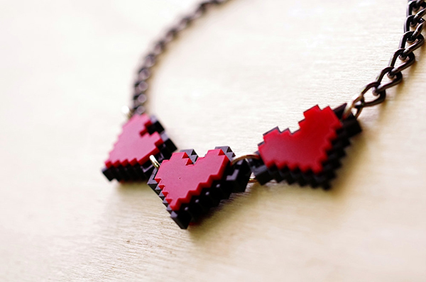 zelda pixel heart jewelry by nastalgame