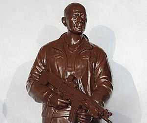 Chocolate Bruce Willis Die Hard Sculpture: Yummy-Ki-Yay!