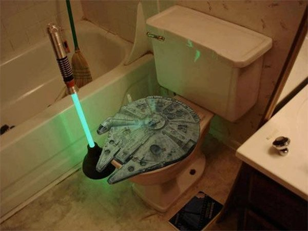 lightsaber toilet plunger and millennium falcon toilet seat may the flush be with you technabob. Black Bedroom Furniture Sets. Home Design Ideas