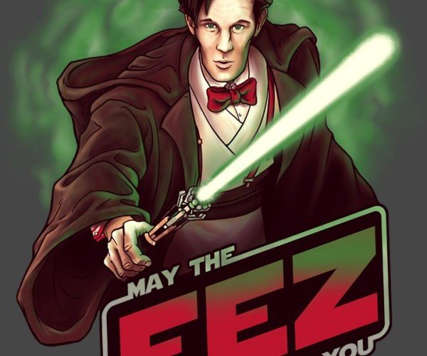 May the Fez Be with You T-Shirt: A Long Time Ago in a TARDIS Far, Far Away