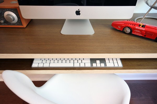 minimal float desk workstation close