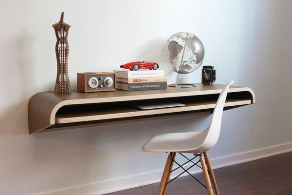 minimal float desk workstation side photo