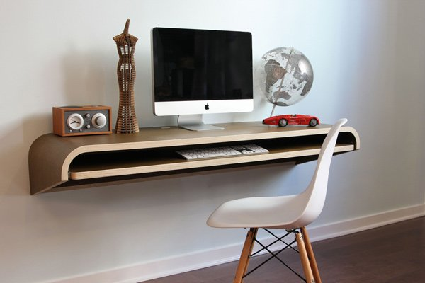 minimal float desk workstation
