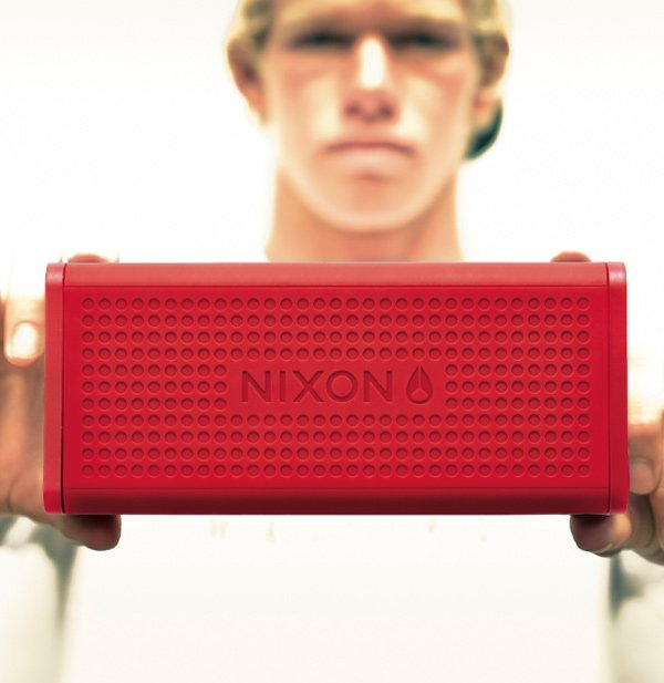 nixon blaster bluetooth speaker in hand