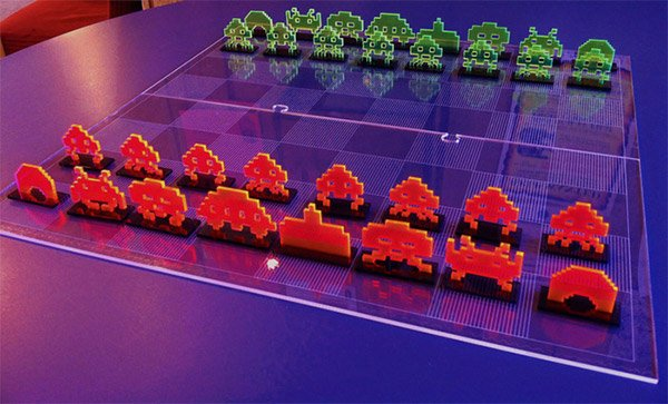 space invaders chess set